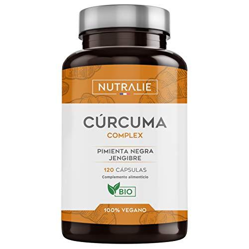 Cúrcuma orgánica(650mg) con Jengibre(50mg) y Pimienta Negra(10mg) | 120 cápsulas vegetales | Máxima calidad | Potente antiinflamatorio y antioxidante natural | Cúrcuma complex | Nutralie    Preci