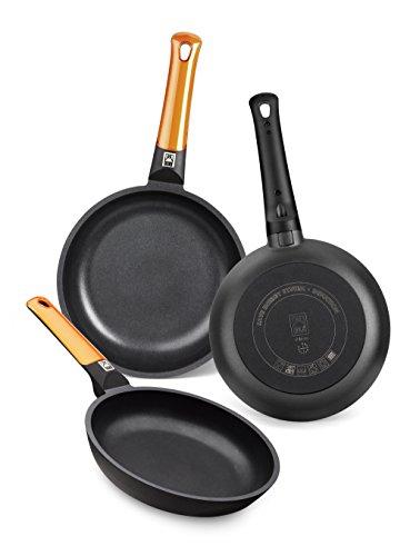 BRA Efficient Orange – Set de 3 sartenes, aluminio fundido con antiadherente tricapa libre de PFOA, para todo tipo de cocinas incluida inducción y vitrocerámica, aptas para lavavajillas, 18-22-26 cm