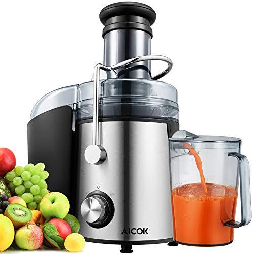 Licuadora Para Verduras y Frutas, Aicok 800W Licuadora Exprimidor y Extractor de Zumos Exprimidor Centrífugo con Boca Ancha de 75MM, 2 Velocidades con Base Antideslizante, Libre de BPA    Precio: 49.