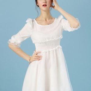 Oferta: Vestido blanco con cintura elástica por 13 euros