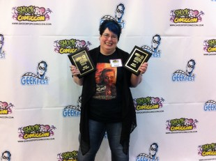 Me with Chomp's awards for Best Short and Best of Fest at the GeekFest Film Festival at Shock Pop Comic Con in Fort Lauderdale.