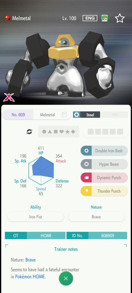 Stats for my new Melmetal!