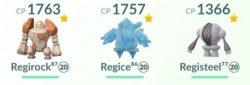 Regirock, Regice, Registeel, pokemon from raids in December 2020