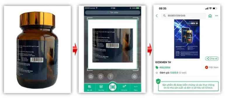Sử dụng app icheck kiểm tra mã vạch bên trong hộp Kichman 1h