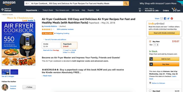 Ebook 550 món ngon làm từ nồi chiên không dầu Best Seller Amazon