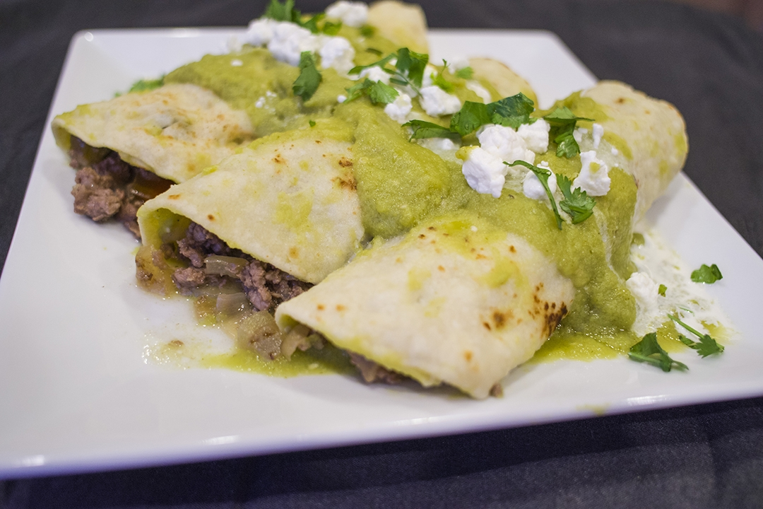 No Oven Beef Enchiladas Verde