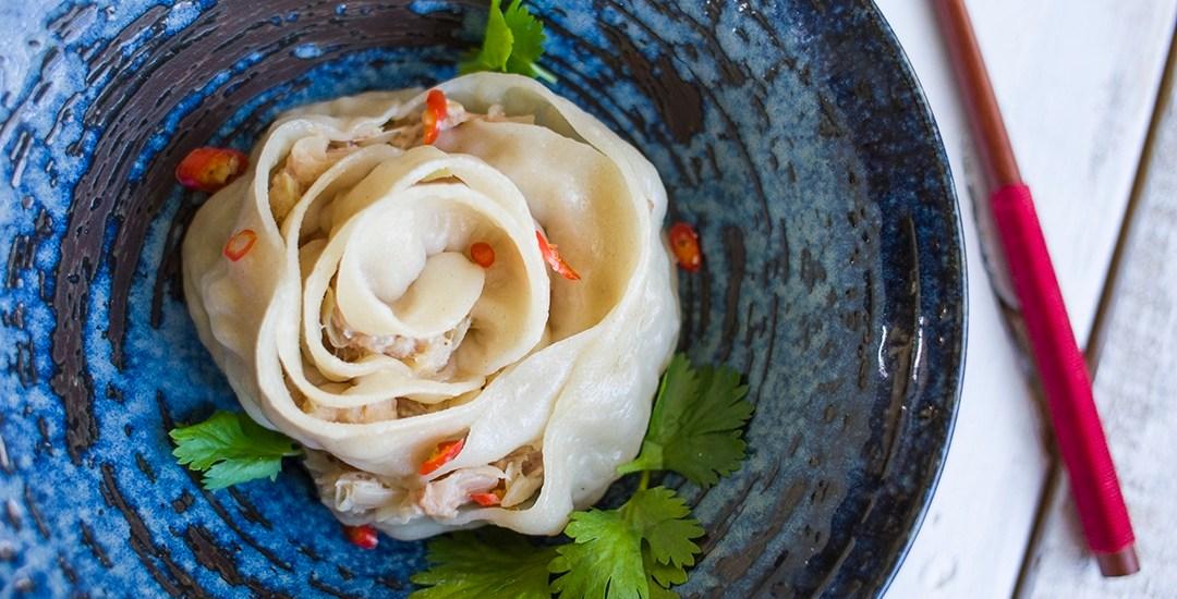 Rose Dumpling with Cilantro Beef Filling   香菜牛肉玫瑰餃