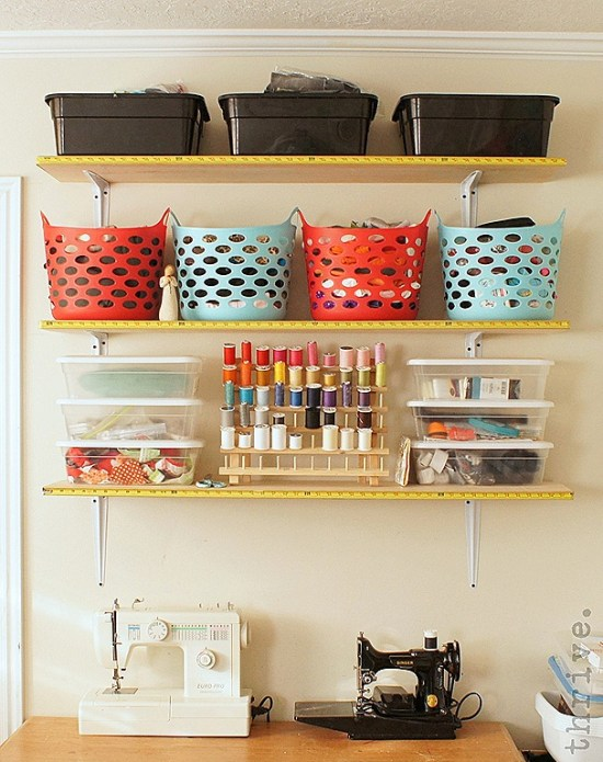Use busted tape measures to decorate shelves - choosetothrive.blogspot.com