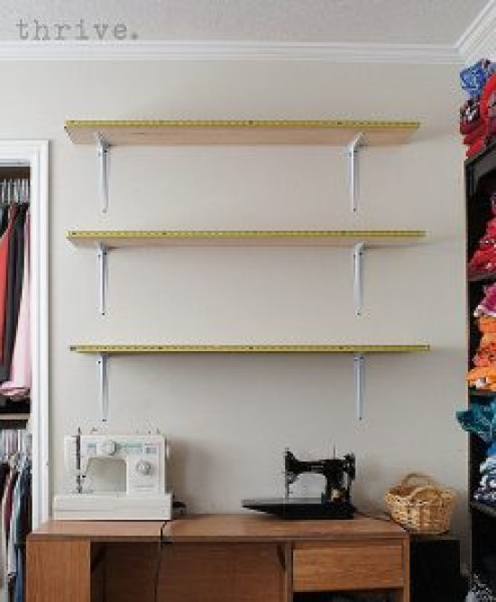 Use busted measuring tapes to decorate shelves - choose-to-thrive.com
