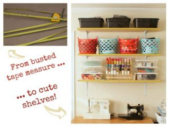 Use busted tape measures to decorate shelves.10