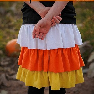 Halloween Candy Corn Skirt Refashion