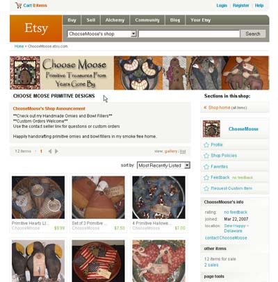 Etsy primitive bowl fillers and ornies