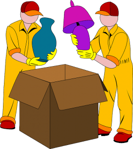 A drawing of two professional movers packing a vase and a lamp into a box.