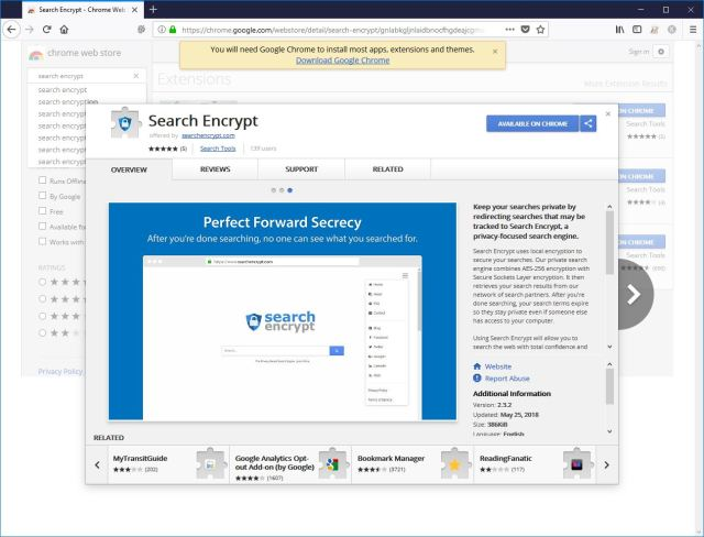 Search Encrypt extension