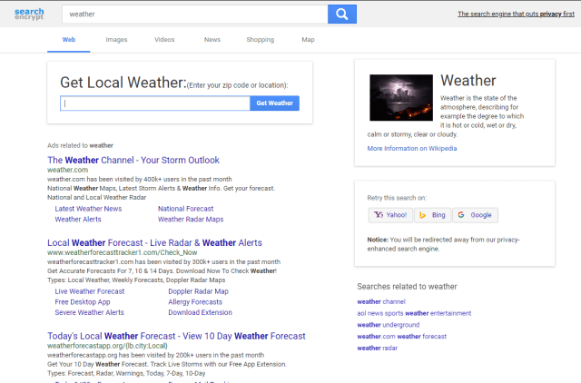 search encrypt weather results