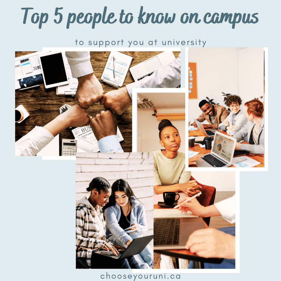 """Light blue background with a dark teal title that reads, """"Top 5 people to know on campus to support you at university."""" There is a photo collage of 4 photos of students working with others. At the bottom, dark teal text that reads, """"Chooseyouruni.ca"""""""