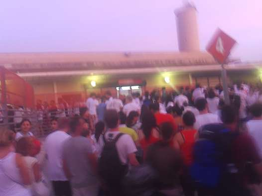 A crowd starting to gather for La Tomatina in Bunol, Spain.