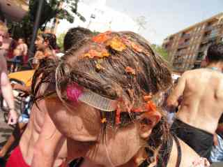My hair, soaked in tomatoes, after La Tomatina.