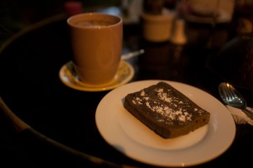 Brownie and hot chocolate in Battambang, Cambodia. It may have been the worst brownie ever.