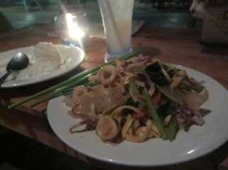 Squid noodles in Sihanoukville, Cambodia.
