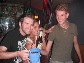 Drinking buckets at Q Bar in Vang Vieng, Laos.