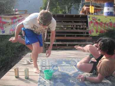 Drinking on the river in Vang Vieng, Laos.