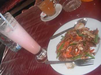 Beef noodles and a strawberry shake in Vang Vieng, Laos.