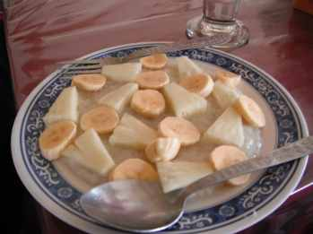 Sweet rice with fruit in Vang Vieng, Laos.