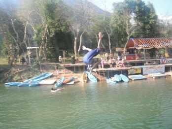 Tubing in Vang Vieng, Laos.