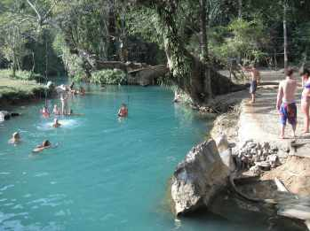 Cave and blue lagoon in Vang Vieng, Laos.