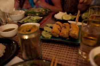 Spring rolls in Vientiane, Laos.
