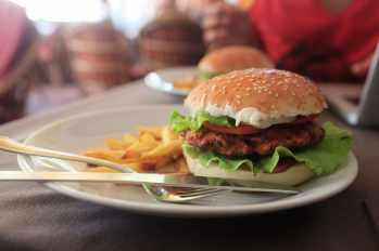 Chicken burger in Anjuna, Goa, India.