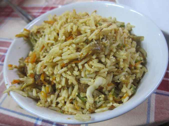 Fish fried rice in Kochi, India.
