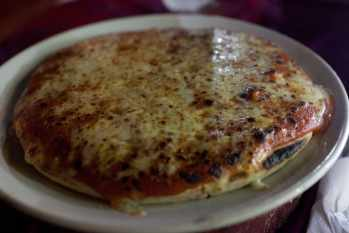 Cheese pizza in Kovalam, India.