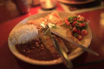 Nachos and vegetable enchiladas in Palolem, Goa, India.