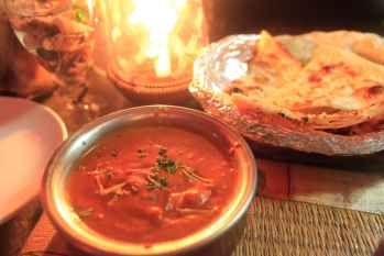 Butter paneer and garlic naan in Palolem, Goa, India.