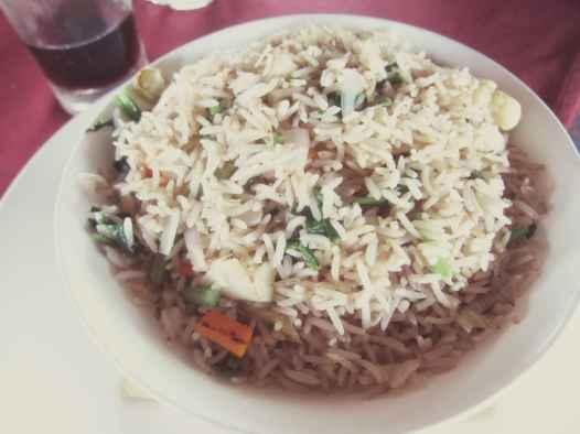 Vegetable fried rice in Varkala, India.