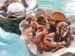Grilled shrimp in Gili Trawangan.