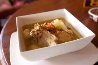Timbungan Babi (traditional stewed pork with Balinese sauce) in Sanur, Bali.