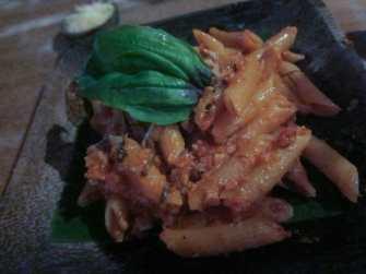Pasta with tuna and tomato sauce in Ubud, Bali.