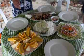 Lunch on a Palawan island hopping tour in the Philippines.