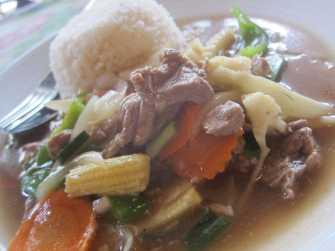 Stir fry beef in Bangkok, Thailand.