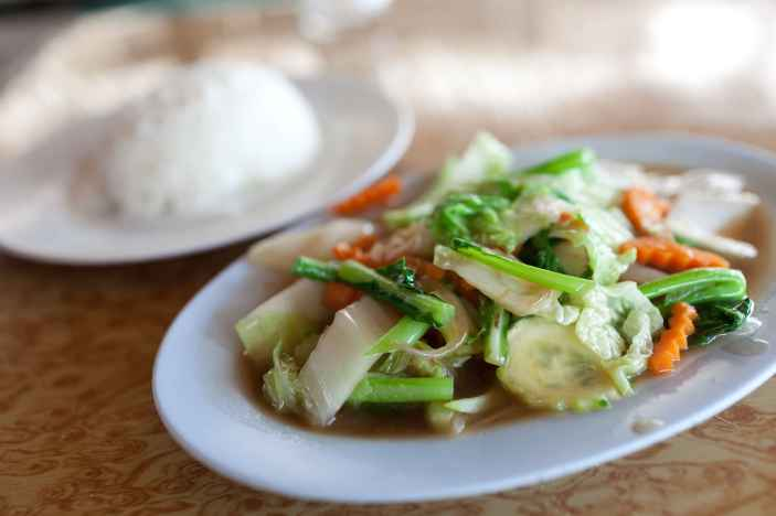 Vegetable stir fry in Chiang Mai, Thailand.