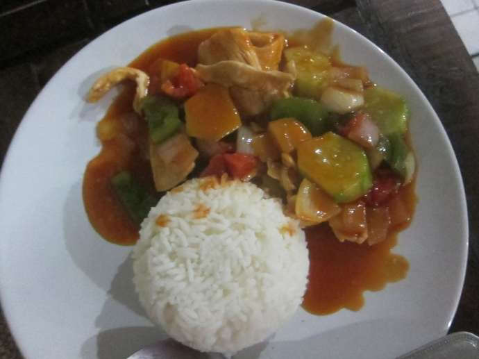 Sweet and sour chicken in Chiang Mai, Thailand.