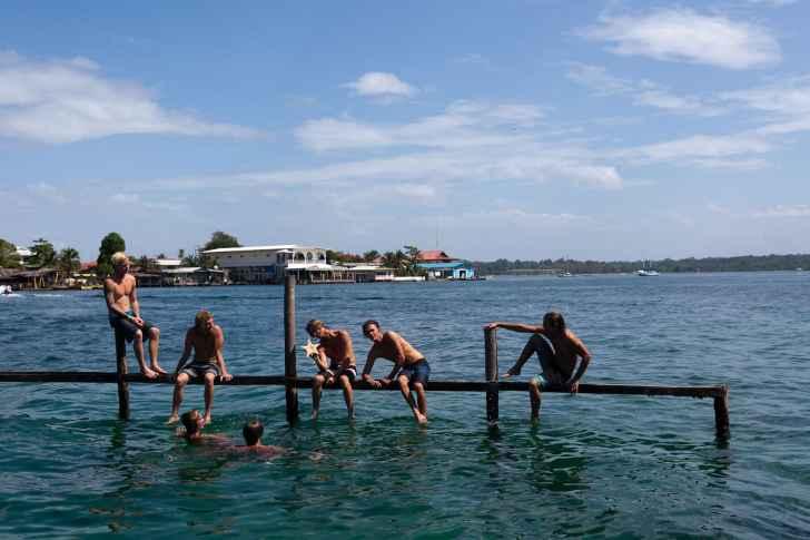 Australian surfers at Aqua Lounge in Bocas del Toro, Panama.