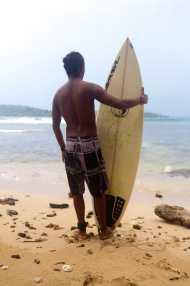 Surfing in Bocas del Toro, Panama.