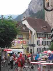 "Big screen in town for the Italy ""football"" game in Interlaken, Switzerland"