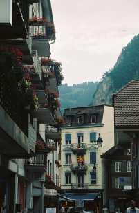 Buildings and Mountains in Interlaken, Switzerland