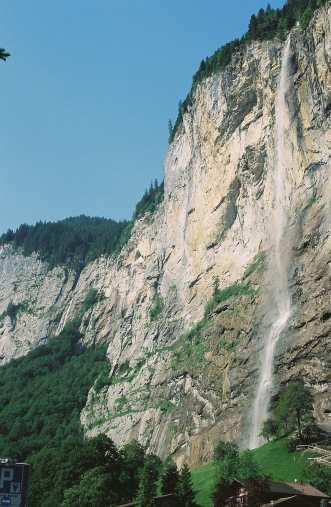Waterfall in the mountains in Interlaken, Switzerland