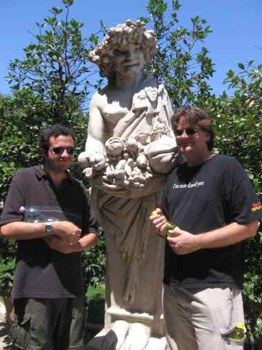 Joe, a statue, and Scott in Rome, Italy